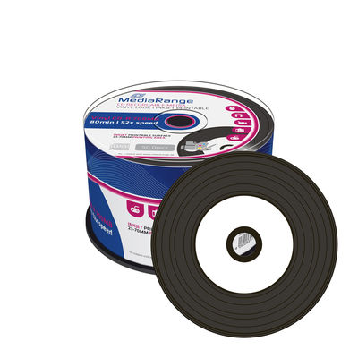 MediaRange Vinyl Discs with BLACK dye Inkjet Printable CD-R 52x 700MB MR226 - Spindle 50