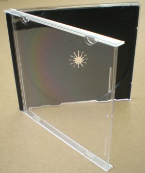 Standard Jewel Case for CD. Clear.black tray ASSEMBLED SINGLE disc (Box of 50)