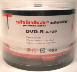 Shinka Shield DVD-R47 WHITE INKJET WATER/ SCRATCH RESISTANT f/f 16x.  50