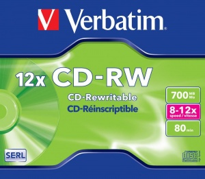 Verbatim CD-RW 80 minute Data REWRITABLE 12x in Jewel Case PK10