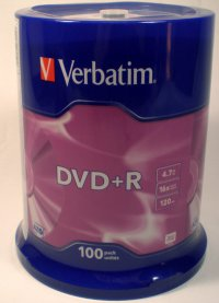 Verbatim DVD+R 4.7GB Silver NON PRINTABLE 16x speed Spindle of 100