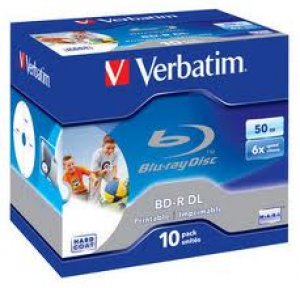 Verbatim Blu-Ray BD-R Dual Layer 50Gb 6x Speed Wide White Inkjet Printable Single in Jewel Case