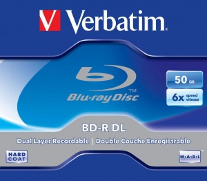 Verbatim Blu-Ray BD-R DUAL LAYER 50GB 6x Single  non-printable Jewel Case