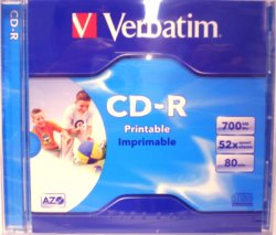 Verbatim CD-R AZO Wide 700Mb WHITE INKJET printable 52x Single. Jewel Case. Ref 43325