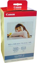 Canon 4 x 6 Photo Paper & Ink Cartridge 108 Sheets 3115B001AA : KP-108IN