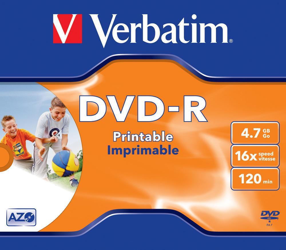 graphic relating to Verbatim Printable Dvd R identified as Verbatim DVD-R47 4.7GB WHITE INKJET 16x within Jewel Circumstance One code 43521