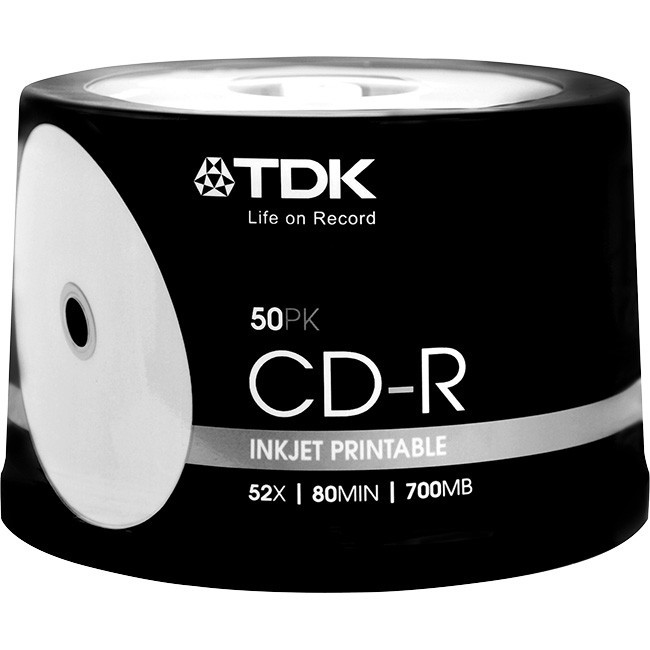 photo regarding Inkjet Printable Cd referred to as TDK CDR80 700MB WHITE INKJET printable CDs f/f 52x Spindle 50