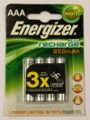 Energizer Rechargeable AAA 850 mAh Batteries. Pack of 4