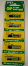 GP 27A-C5 Alkaline High Voltage (12v)Batteries 5-Pack   Also coded 27A   MN27