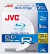 JVC BD-R 25GB Blu-Ray Hardcoated Disc 1-4X Non -printable Write once 5 Pack
