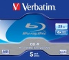 Verbatim Blu-Ray BD-R non-printable disc 25 GB 6X speed Jewel Case (Box contains 5 discs)