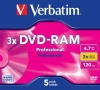 Verbatim DVD RAM Rewriteable 4.7GB 120 Min 3x Cartridge type 2 in Jewel Case