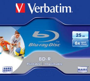 Verbatim Blu-Ray BD-R 25GB White Inkjet f/f Printable 6x in a Jewel Case