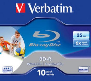 Verbatim Blu-Ray BD-R 25GB White Inkjet f/f Printable 6x in a Jewel Case (Box contains 10 discs)