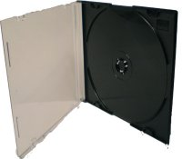 Klix Slimline Clear fronted CD Jewel Case with black tray (Box of 50)